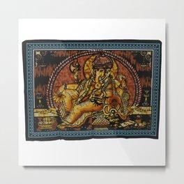Indian Hindu God Ganesha Yoga Mat Tapestry Metal Print