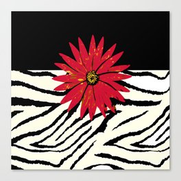 Animal Print Zebra Black and White and Red flower Medallion Canvas Print