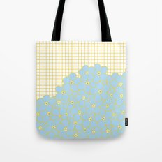 Forget Me Knot Gold Grid Tote Bag