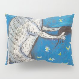 Meme Cat and Mouse on Navy Background Oil Pastel Art Pillow Sham