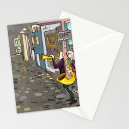 Abstract Jazz in the Streets musician saxophone Art Print Stationery Cards
