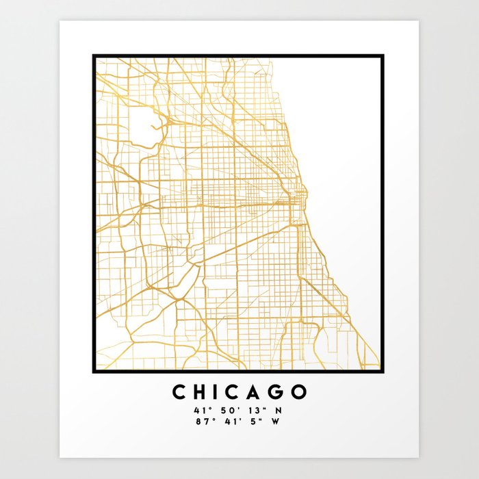 CHICAGO ILLINOIS CITY STREET MAP ART Art Print by deificusart | Society6