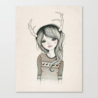 antler Canvas Prints featuring Antler Girl by Kelli Murray