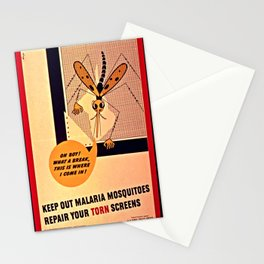 Keep out malaria mosquitoes repair your torn screen Stationery Cards