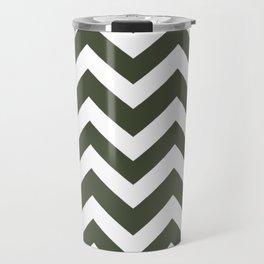 Rifle green - green color -  Zigzag Chevron Pattern Travel Mug