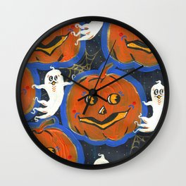 Spooky Jack o' lanterns Wall Clock