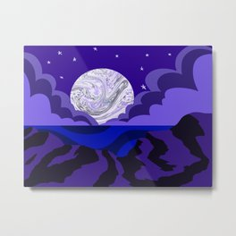 Cloudy Night on the Ocean Metal Print