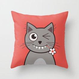 Winking Cartoon Kitty Cat Throw Pillow