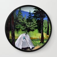 camp Wall Clocks featuring Camp by Kira Yustak