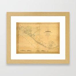 Map Of Liberia 1850 Framed Art Print