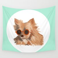 sunglasses Wall Tapestries featuring Dog Wearing Sunglasses by Danielle Davis