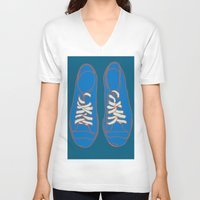 sneakers V-neck T-shirts featuring Sneakers by Sam Ayres