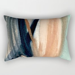 Waves - a pretty minimal watercolor abstract in blues, pinks, and browns Rectangular Pillow