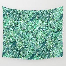 JUNGLE VIBES Green Monstera Watercolor Print Wall Tapestry