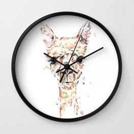 Llama Llama - Colorful Watercolor Painting Wall Clock