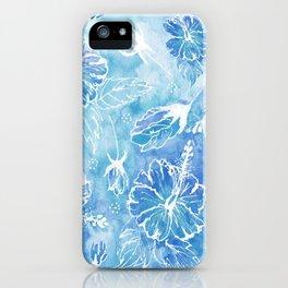 Hibiscus | Watercolor Blooms in Ocean Blue iPhone Case