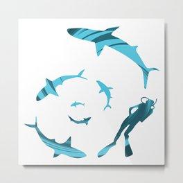 Espiral de tiburones Metal Print