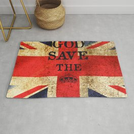 God Save The Queen London UK Rug
