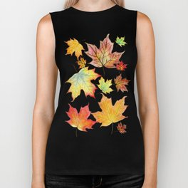 Autumn Maple Leaves Biker Tank