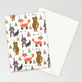Bohemian orange brown forest animal arrows tribal pattern Stationery Cards