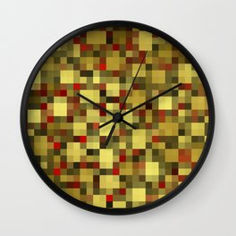 checkered shiny chic, elegant in gold,red and black Wall Clock