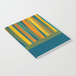 Ribbon Abstract Lined Cuff Pattern in Moroccan Blue, Green, Orange, Mustard, and Teal Notebook