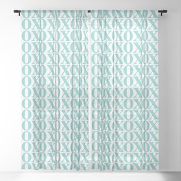 Aqua XOXO Sheer Curtain