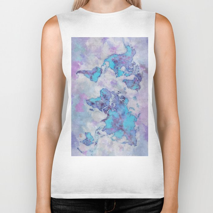 World Map Purple Biker Tank
