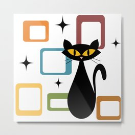 Mid Century black cat Metal Print