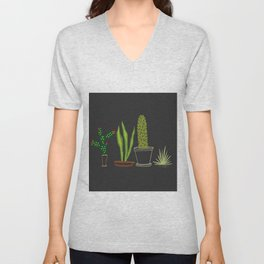 Cactus Trio (Black) Unisex V-Neck