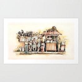 Kolkata India Sketch in Watercolor (1) Art Print