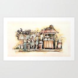 Kolkata India Sketch in Watercolor | City View | Street Food Stall | Calcutta West Bengal Art Print