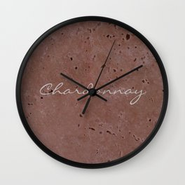 Chardonnay Wine Red Travertine - Rustic - Rustic Glam Wall Clock