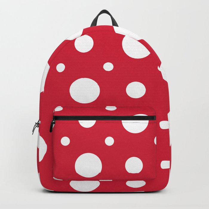 White dots on a red background. Backpack