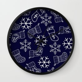 Navy blue and white Christmas snowflakes stockings  Wall Clock