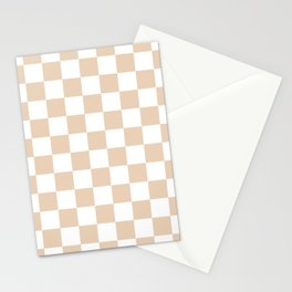 Checkered - White and Pastel Brown Stationery Cards