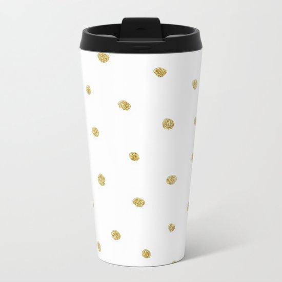 Golden touch I - Gold glitter small polkadots pattern- Confetti on #Society6 Metal Travel Mug