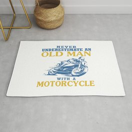 OLD MAN WITH A MOTORCYCLE Rug