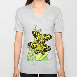 Black & Yellow Butterfly Unisex V-Neck