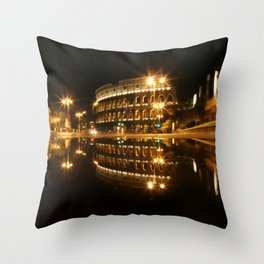Colosseum reflection at night Throw Pillow