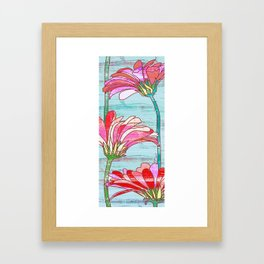 Gerbera flowers print, floral pattern in mint and pink Framed Art Print