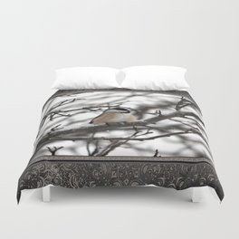 Winter Windblown Black-Capped Chickadee Duvet Cover