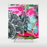 alisa burke Shower Curtains featuring pink and black by Alisa Burke