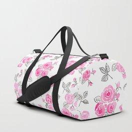Pink watercolor roses pattern Duffle Bag