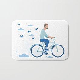 bird man bike Bath Mat