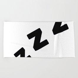 Zzzs in Black Beach Towel