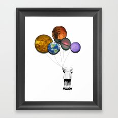 Planet balloon girl Framed Art Print
