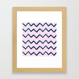 Geometric baby pink navy blue watercolor chevron Framed Art Print