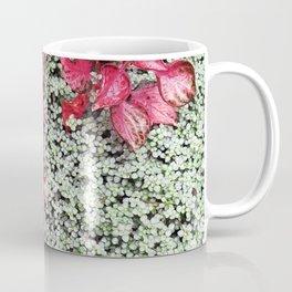Pink Leaves on Green Carpet Coffee Mug