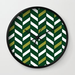 Green & Yellow Herringbone Wall Clock